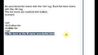 HTML Lists order list unorder list and lsit tags example
