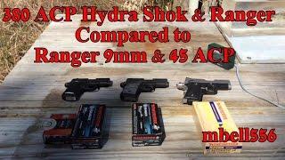 concealed carry ballistics 380 acp vs 9mm vs 45 acp hydra shok vs ranger