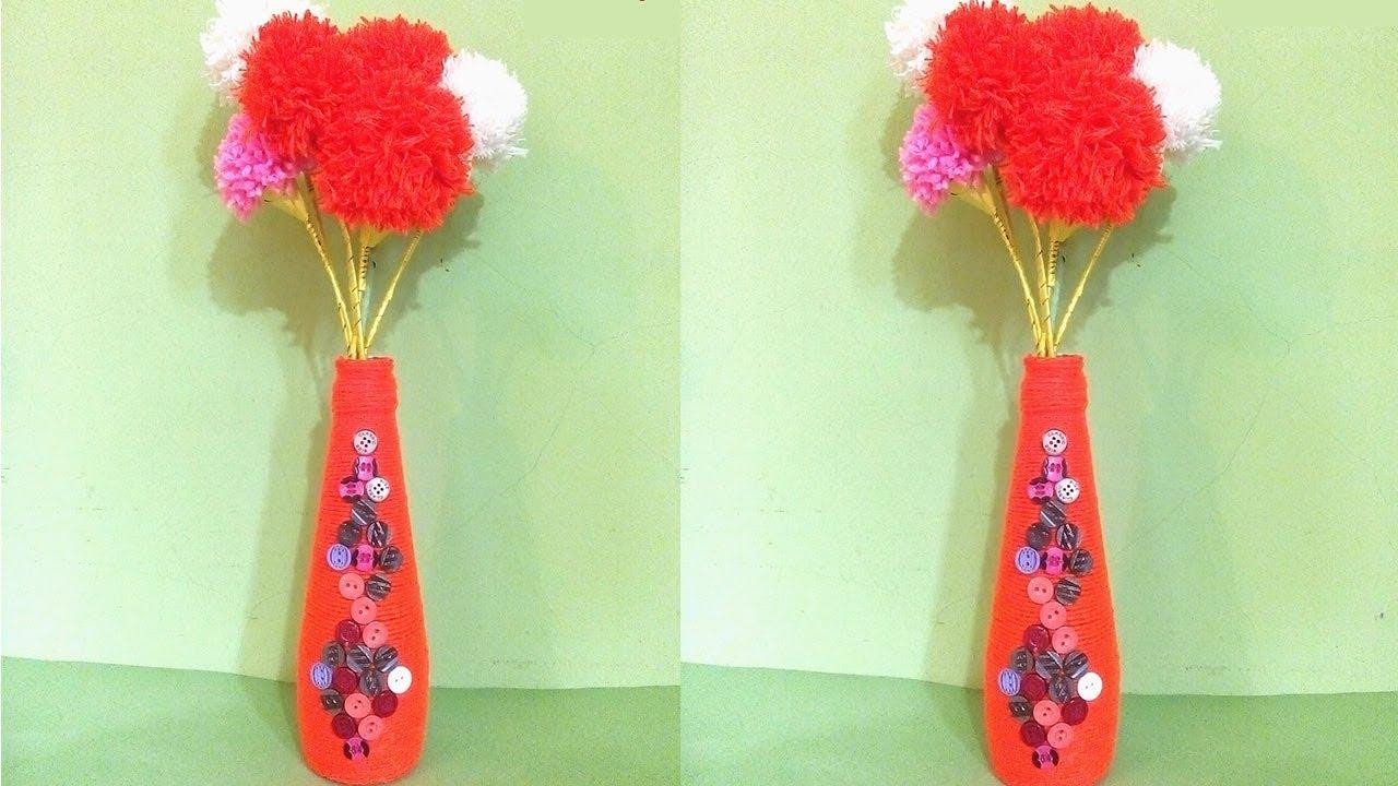 Empty Bottle Flower Vase Making With Woolen Pom Pom Wine Bottle
