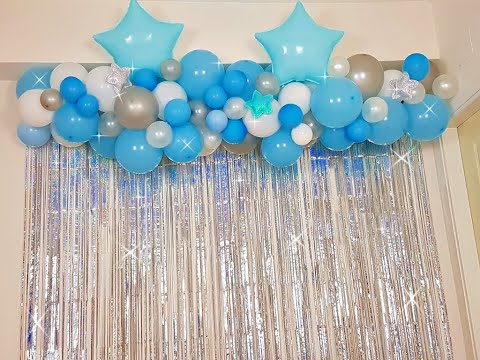 Decoración cortinas metalizadas, y globos de estrella 😍/decoration metallic curtains and balloons