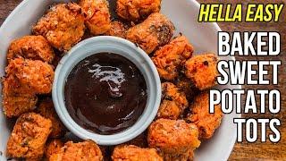 Hella Easy Baked Sweet Potato Tots / Croquetas de Batata al Horno