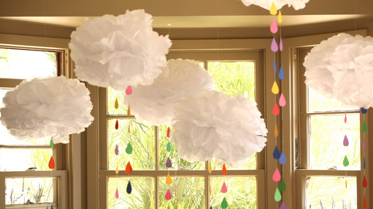 How to make tissue paper clouds youtube for Baby shower ceiling decoration ideas