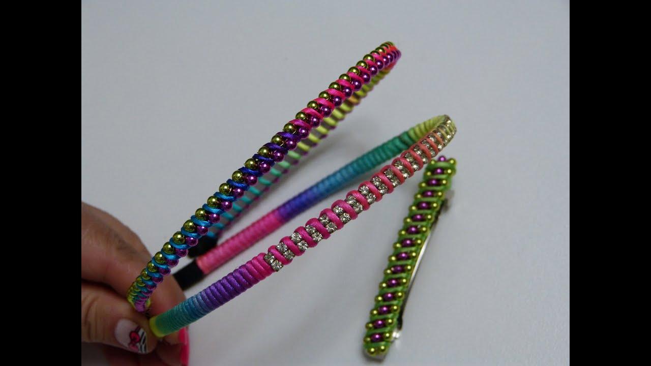 Como tejer Diademas fácilmente con cordón cola de Ratón y perlas continuas , YouTube