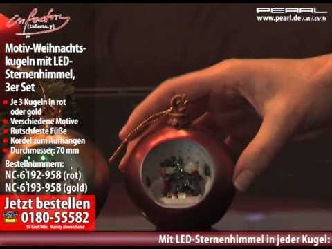 infactory Motiv-Weihnachtskugeln mit LED-Sternenhimmel, 2er-Set rot