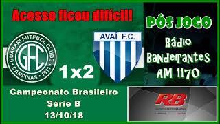 Guarani 1 x 2 Avaí  - Pós Jogo - Rádio Bandeirantes AM 1170
