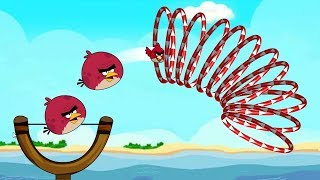 Angry Birds Slingshot Fun 2 - THROW TERENCE BIRDS THROUGH EVERY RINGS FULL WALKTHROUGH!