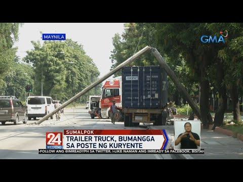 24 Oras: Trailer truck, bumangga sa poste ng kuryente