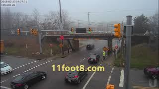 Foggy morning canopener truck crash at the 11foot8 bridge