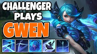 CHALLENGER tries *NEW CHAMP* GWEN | Challenger Gwen | 11.7 - League of Legends