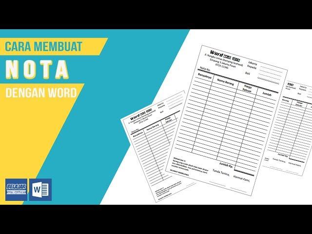 Belajar Microsoft Word Cara Membuat Nota Dengan Microsoft