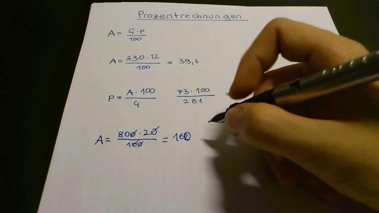 Prozentrechnung Formel Und übungen Youtube