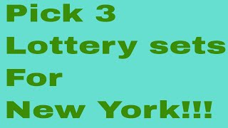 Numbers/Pick 3 lottery sets for New York!!!