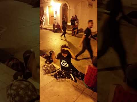 Bboys breakdancing on streets of Cartagena Colombia cool dope moves