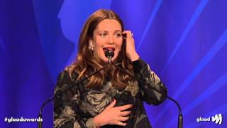 Host Drew Barrymore opens the #glaadawards