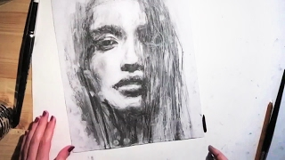 �������� ���� FEMALE PORTRAIT - Charcoal Speed Drawing ������