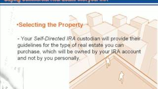 Using your Roth-IRA or Sep-IRA for Real Estate Investment