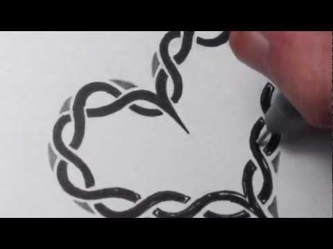 Drawing a Celtic Heart Pattern - Black Broken Lines