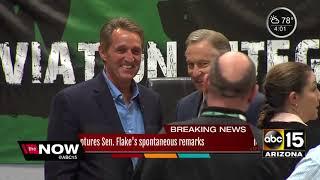 ABC15 caught audio from Senator Flake's open mic regarding President Trump
