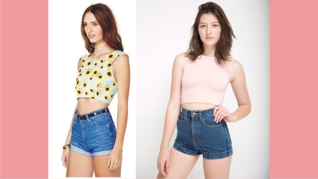 With top Crop high waisted shorts pictures