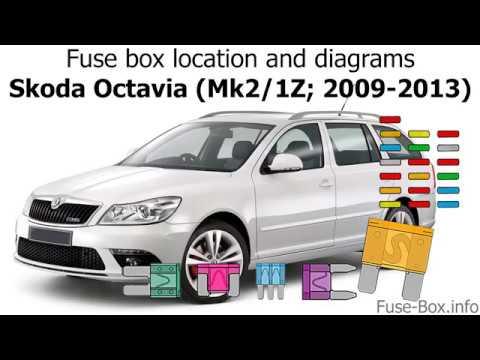 Fuse box location and diagrams Skoda Octavia (Mk2/1Z; 2009-2013