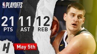 Nikola Jokic Full Game 4 Highlights Nuggets vs Blazers 2019 NBA Playoffs - 21 Pts, 11 Ast, 12 Reb!