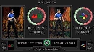 Sprite Comparison of Mortal Kombat 3 (Sega Genesis vs SNES) Side by Side Comparison