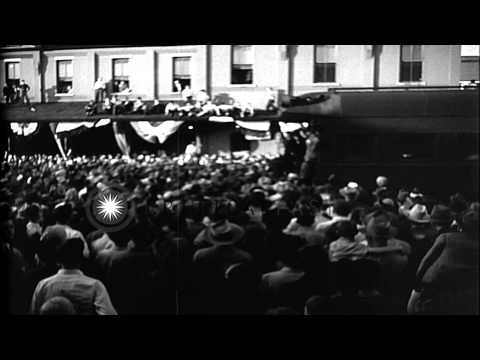 Huge crowd of supporters of Thomas Dewey, the Republican President nominee during...HD Stock Footage