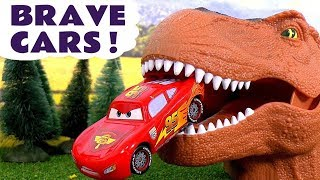 Download Brave Disney Cars Toys McQueen Toy Stories with Trucks Giant Dinosaur Superhero Batman and Hulk TT4U Mp3 and Videos