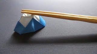 [祝☆世界遺産] 折り紙で箸置き~富士山~[Tutorial ORIGAMI] Mt. Fuji UNESCO World Heritage