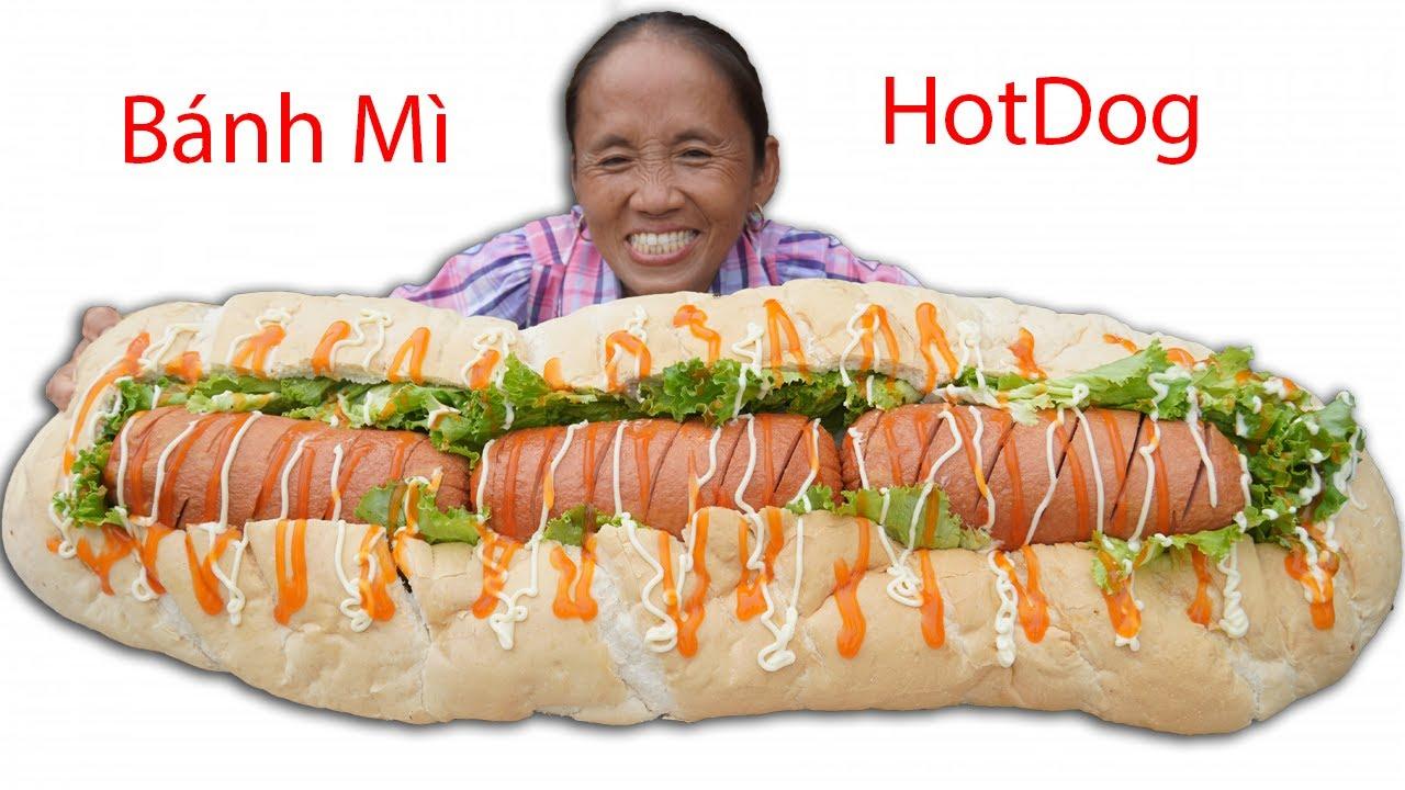Bà Tân Vlog - Làm Bánh Mì Hot Dog Siêu To Khổng Lồ   Giant hot dog sandwiches