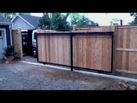 Automatic Maryland Wood Slide Gate Amp Fence Youtube