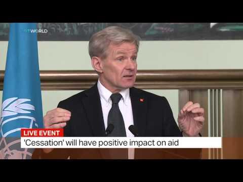 Staffan de Mistura and Jan Egeland speaking on Syria deal