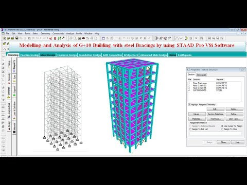 Building Design G 10 With Bracings By Staad Pro V8i Software Youtube