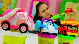 Видео для детей: Робокар Поли и поделки из Плей До