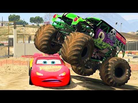 Monster Jam Grave Digger Vs Lightning McQueen, Chicks Hick - GTA V Disney Monster Mods