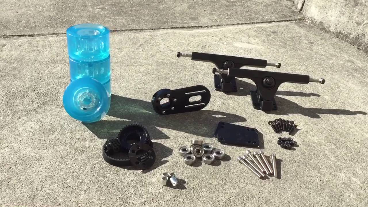 Single Motor Electric Skateboard DIY Kit with Clear Blue Wheels ...