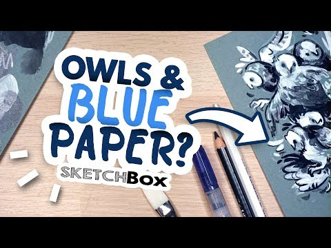 Drawing Owls on BLUE Paper // Sketchbox Unboxing (August 2019) thumbnail