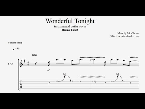 Clapton wonderful tonight tabs