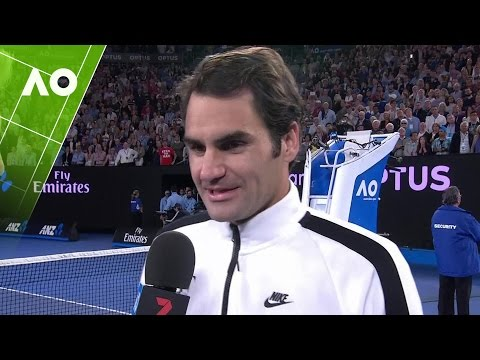 Roger Federer on court interview (SF) | Australian Open 2017