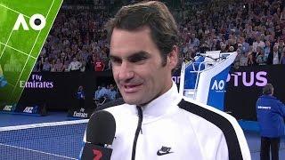 Roger Federer on court interview (SF)   Australian Open 2017