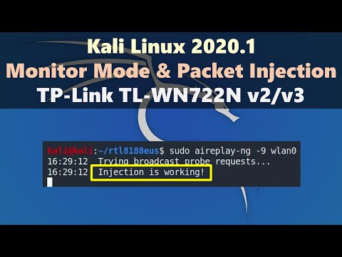 [Kali Linux 2020.1] How To Enable Monitor Mode And Packet Injection On TP-Link TL-WN722N V2/v3