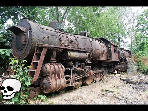 Thumbnail: Abandoned trains. Old abandoned steam engine trains in USA. Abandoned steam locomotives