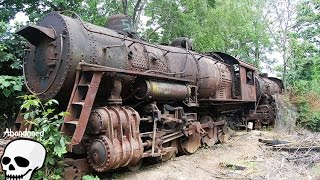 Abandoned trains. Old abandoned steam engine trains in USA. Abandoned steam locomotives thumbnail