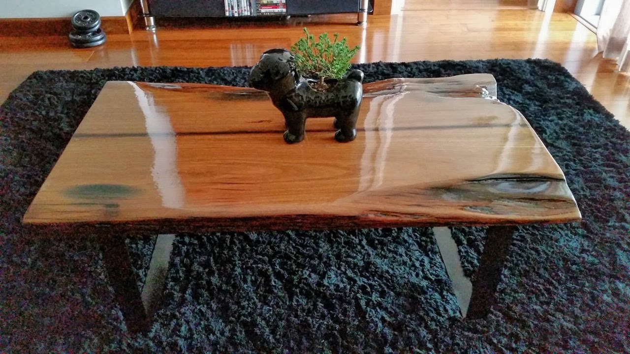 Diy hardwood coffee table made out of recycled wood youtube for How to build a wooden table from scratch
