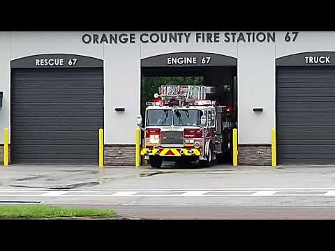 Orange County Fire Rescue Quint 67 and Rescue 72 Code 3 response MVC