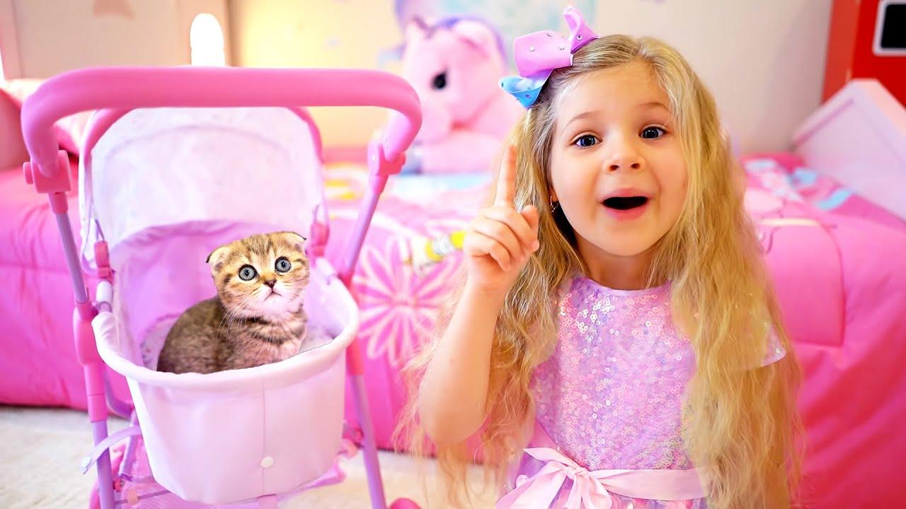 डायना सीखती है कि एक बिल्ली का बच्चा कैसे पालें