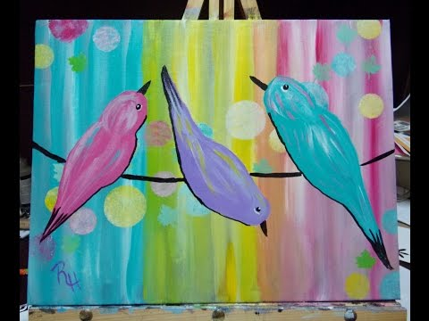 Beginners Acrylic Paint Along Tutorial part 3 Rainy Day Birds