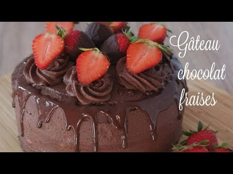 gâteau-au-chocolat-/-fraises-🍓-#gâteau-#gâteauchocolat-#recette-#fraises