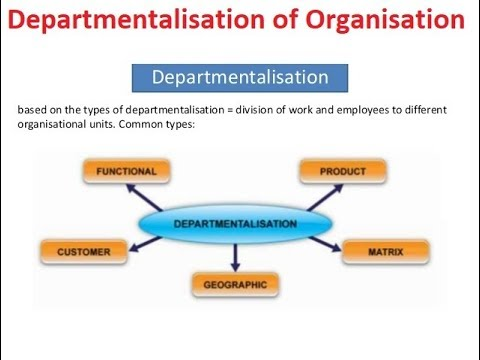 Departmentalisation of an Organisation for Administration or Management