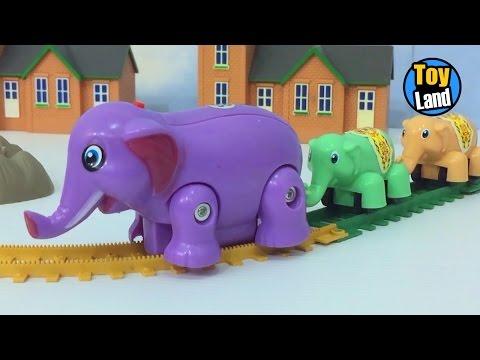 Elephant Train Toy for Children Videos For Kids TRAIN TRACK SET